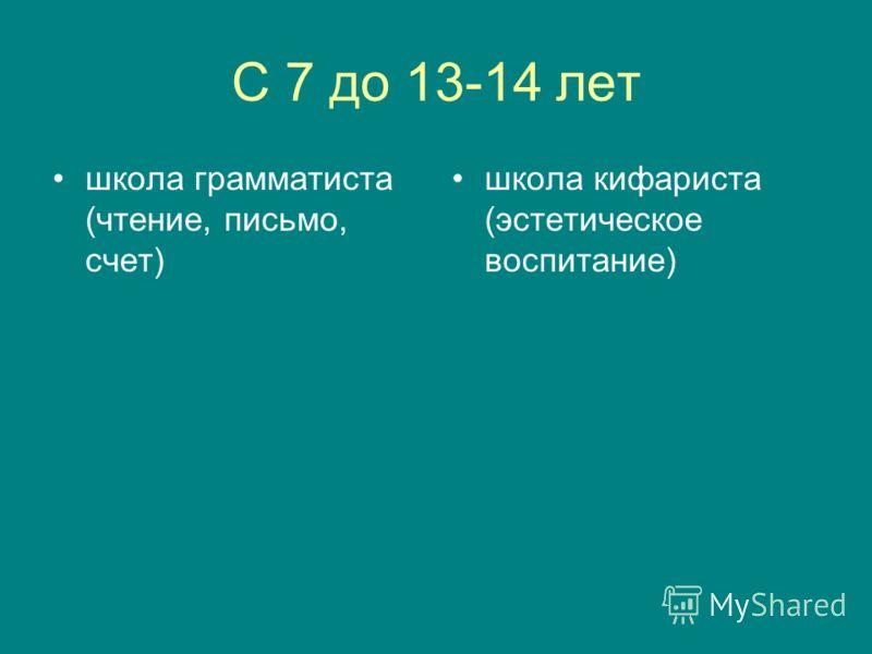 С 7 до 13-14 лет школа грамматиста (чтение, письмо, счет) школа кифариста (эстетическое воспитание)