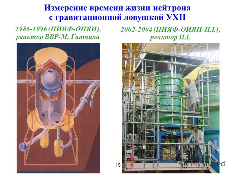 Измерение времени жизни нейтрона с гравитационной ловушкой УХН 2002-2004 (ПИЯФ-ОИЯИ-ILL), реактор ILL 19 1986-1996 (ПИЯФ-ОИЯИ), реактор ВВР-М, Гатчина