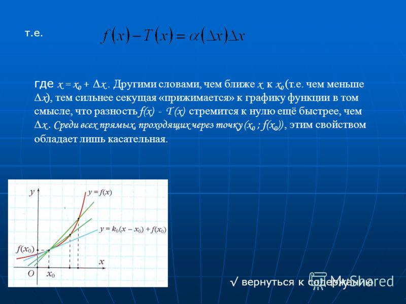 т.е. где x = x 0 + x. Другими словами, чем ближе x к x 0 (т.е. чем меньше x ), тем сильнее секущая «прижимается» к графику функции в том смысле, что разность f (x) - T (x) стремится к нулю ещё быстрее, чем x. Среди всех прямых, проходящих через точку