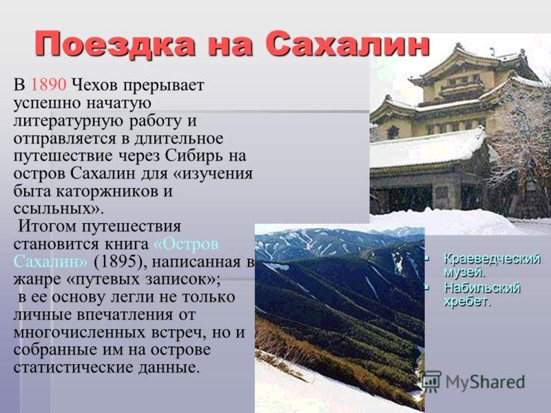 В 1890 Чехов прерывает успешно начатую литературную работу и отправляется в длительное путешествие через Сибирь на остров Сахалин для «изучения быта каторжников и ссыльных». Итогом путешествия становится книга «Остров Сахалин» (1895), написанная в жа