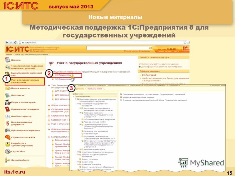 выпуск май 2013 Новые материалы its.1c.ru Методическая поддержка 1С:Предприятия 8 для государственных учреждений 15 1 2 3