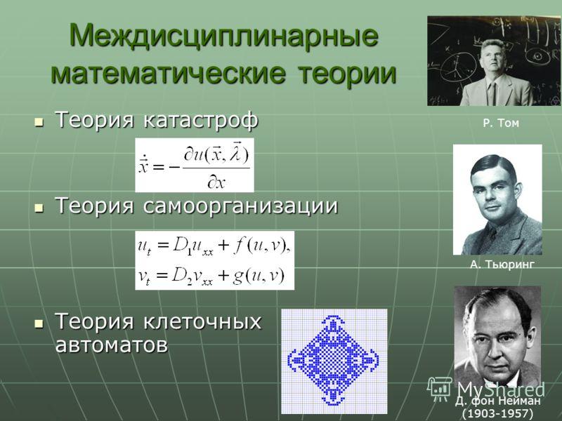 Междисциплинарные математические теории Теория катастроф Теория катастроф Теория самоорганизации Теория самоорганизации Теория клеточных автоматов Теория клеточных автоматов Р. Том Д. фон Нейман (1903-1957) А. Тьюринг