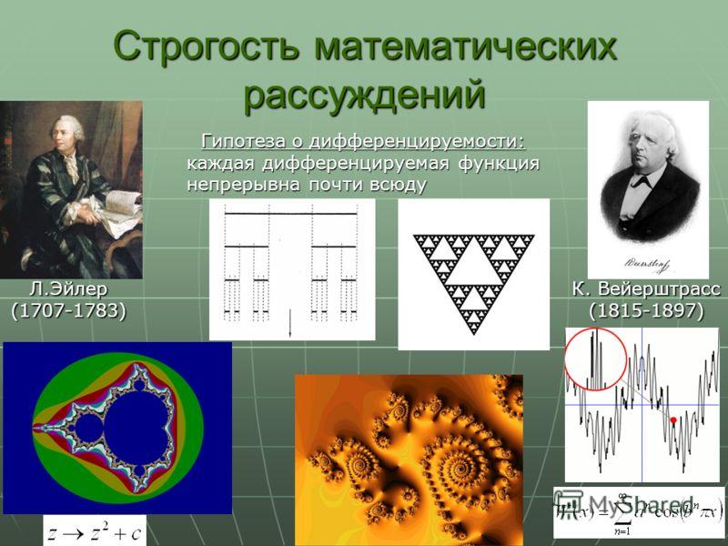 Строгость математических рассуждений Л.Эйлер(1707-1783) К. Вейерштрасс (1815-1897) Гипотеза о дифференцируемости: каждая дифференцируемая функция непрерывна почти всюду