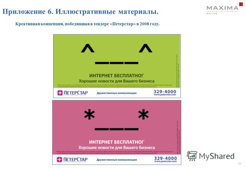84 Приложение 6. Иллюстративные материалы. Креативная концепция, победившая в тендере «Петерстар» в 2008 году.