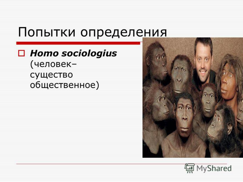 Попытки определения Homo sociologius (человек– существо общественное)