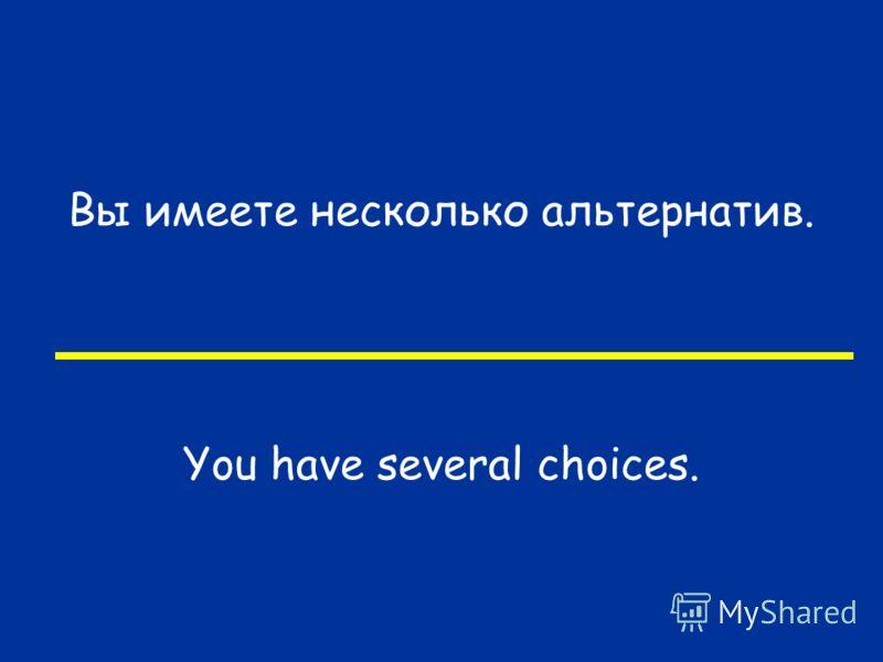 Вы имеете несколько альтернатив. You have several choices.