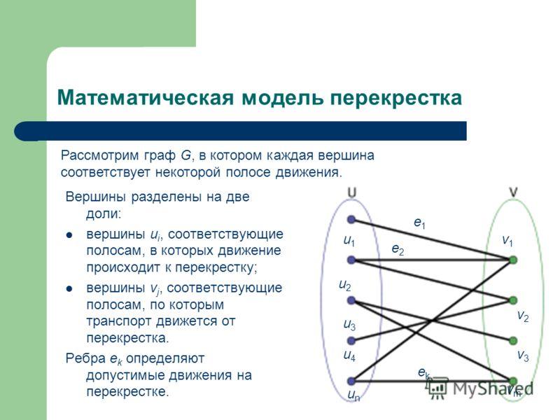 Математическая модель перекрестка Вершины разделены на две доли: вершины u i, соответствующие полосам, в которых движение происходит к перекрестку; вершины v j, соответствующие полосам, по которым транспорт движется от перекрестка. Ребра e k определя