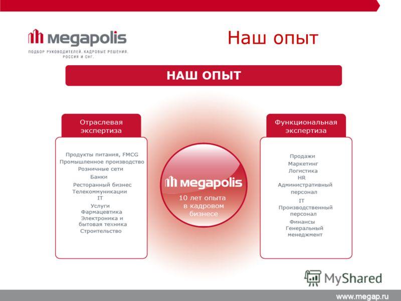 Наш опыт www.megap.ru
