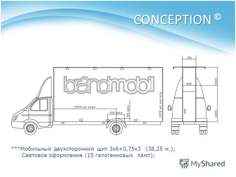 CONCEPTION CONCEPTION © ***Мобильный двухсторонний щит 3х6+0,75х3 (38,25 м.); Световое оформление (15 галогенновых ламп);