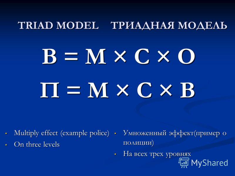 TRIAD MODEL B = M × C × O B = M × C × O П = M × C × В ТРИАДНАЯ МОДЕЛЬ Multiply effect (example police) Multiply effect (example police) On three levels On three levels Умноженный эффект(пример о полиции) Умноженный эффект(пример о полиции) На всех тр