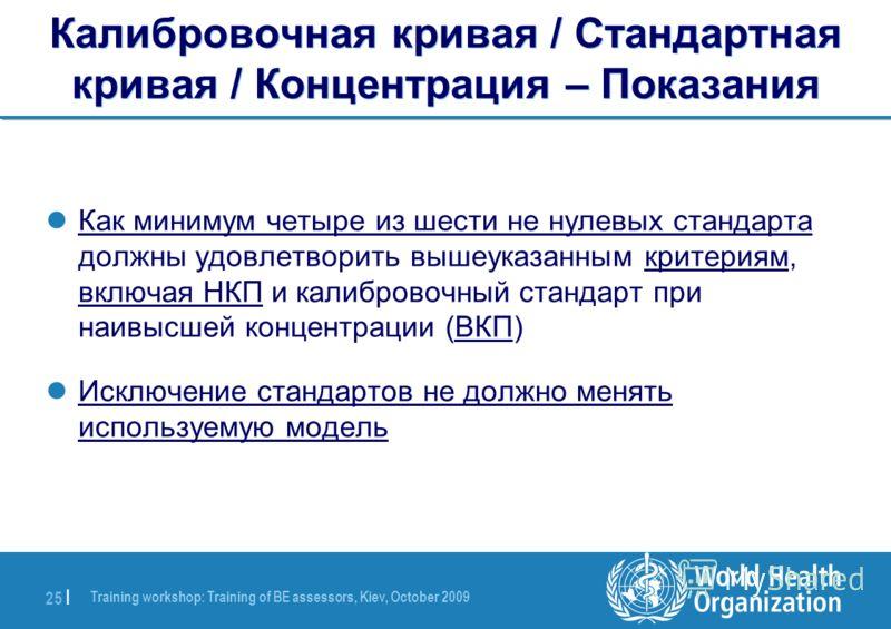 Training workshop: Training of BE assessors, Kiev, October 2009 25 | Калибровочная кривая / Стандартная кривая / Концентрация – Показания Как минимум четыре из шести не нулевых стандарта должны удовлетворить вышеуказанным критериям, включая НКП и кал