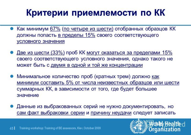 Training workshop: Training of BE assessors, Kiev, October 2009 45 | Критерии приемлемости по КК Как минимум 67% (по четыре из шести) отобранных образцов КК должны попасть в пределы 15% своего соответствующего условного значения Две из шести (33%) пр