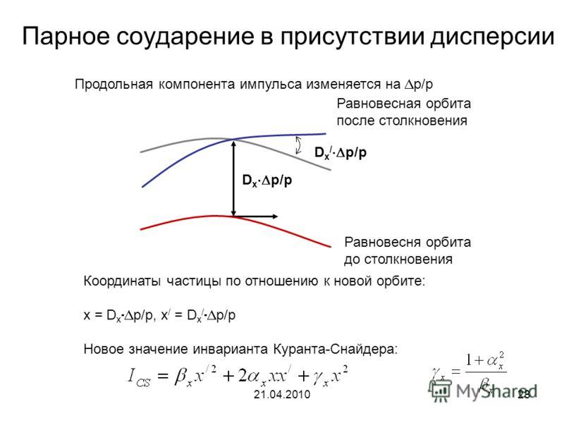 21.04.201028 Парное соударение в присутствии дисперсии Равновесня орбита до столкновения Равновесная орбита после столкновения D x p/p D x / p/p Продольная компонента импульса изменяется на p/p Координаты частицы по отношению к новой орбите: x = D x
