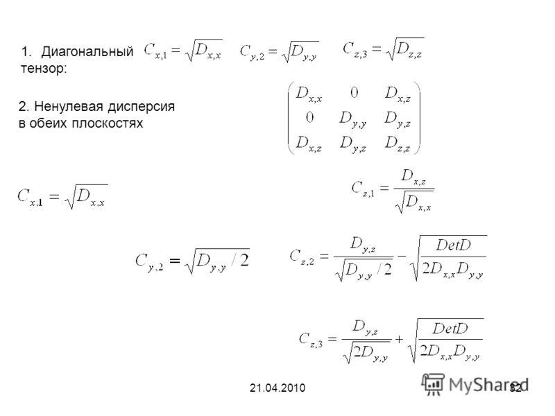 21.04.201032 1.Диагональный тензор: 2. Ненулевая дисперсия в обеих плоскостях