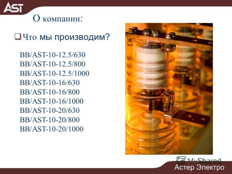 О компании : Что мы производим? BB/AST-10-12.5/630 BB/AST-10-12.5/800 BB/AST-10-12.5/1000 BB/AST-10-16/630 BB/AST-10-16/800 BB/AST-10-16/1000 ВВ/AST-10-20/630 ВВ/AST-10-20/800 ВВ/AST-10-20/1000