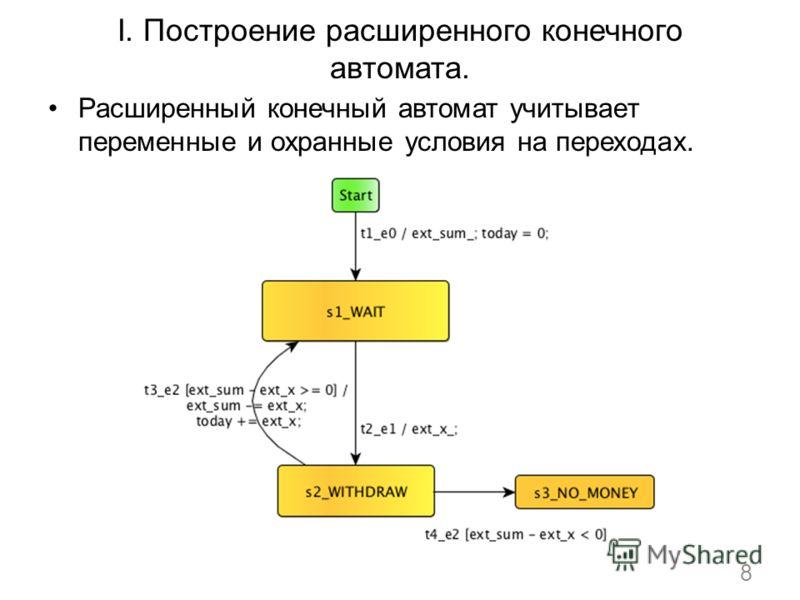 I. Построение расширенного конечного автомата. Расширенный конечный автомат учитывает переменные и охранные условия на переходах. 8