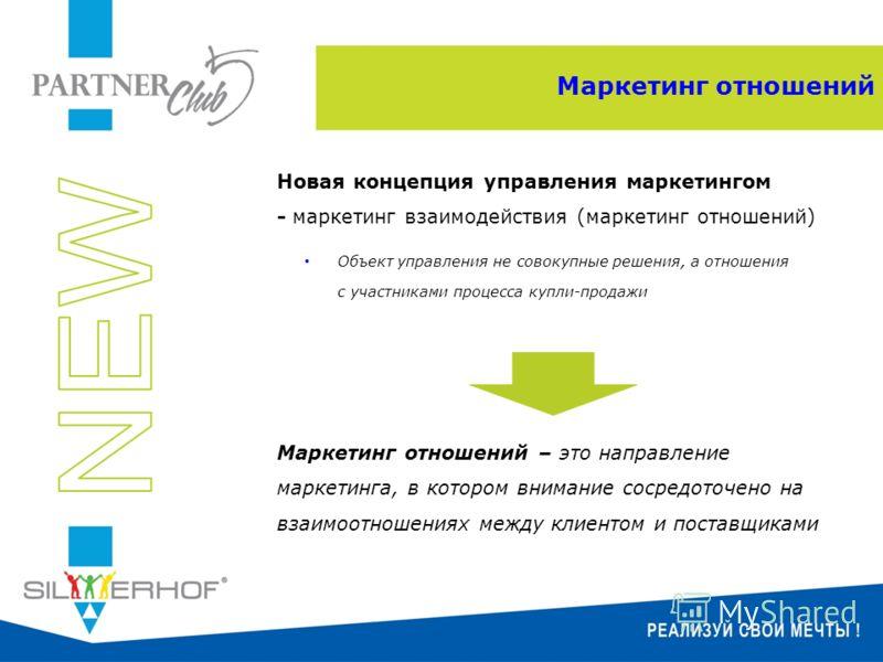 Маркетинг отношений Новая концепция управления маркетингом - маркетинг взаимодействия (маркетинг отношений) Объект управления не совокупные решения, а отношения с участниками процесса купли-продажи Маркетинг отношений – это направление маркетинга, в