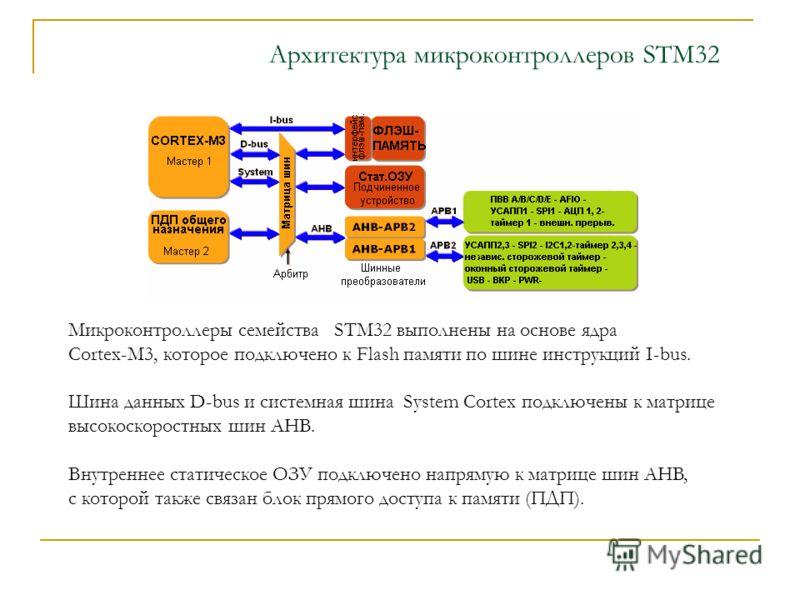 Архитектура микроконтроллеров STM32 Микроконтроллеры семейства STM32 выполнены на основе ядра Cortex-M3, которое подключено к Flash памяти по шине инструкций I-bus. Шина данных D-bus и системная шина System Cortex подключены к матрице высокоскоростны