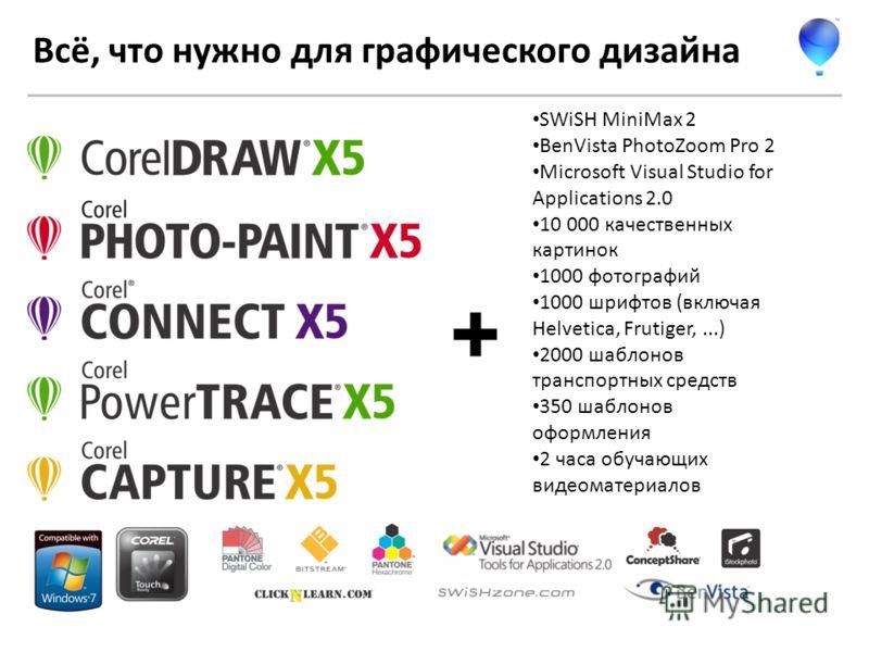 Всё, что нужно для графического дизайна SWiSH MiniMax 2 BenVista PhotoZoom Pro 2 Microsoft Visual Studio for Applications 2.0 10 000 качественных картинок 1000 фотографий 1000 шрифтов (включая Helvetica, Frutiger,...) 2000 шаблонов транспортных средс