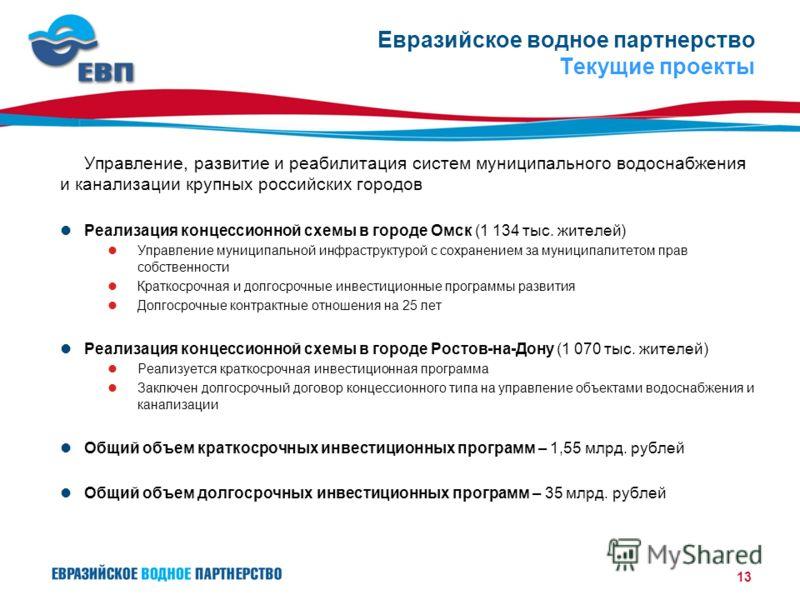 13 Евразийское водное партнерство Текущие проекты Управление, развитие и реабилитация систем муниципального водоснабжения и канализации крупных российских городов Реализация концессионной схемы в городе Омск (1 134 тыс. жителей) Управление муниципаль