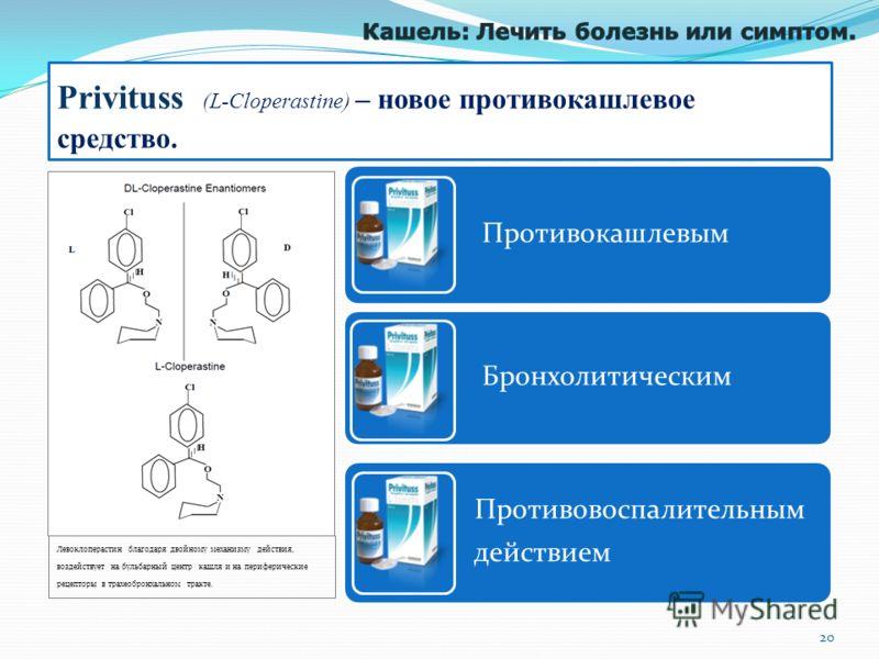 Левоклоперастин благодaря двойному механизму действия, воздействует на бульбарный центр кашля и на периферические рецепторы в трахеобронхальном тракте. Privituss (L-Cloperastine) – новое противокашлевое средство. Противокашлевым Бронхолитическим Прот