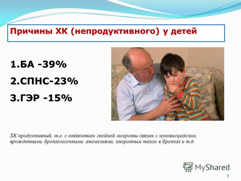 Причины ХК (непродуктивного) у детей 1.БА -39% 2.СПНС-23% 3.ГЭР -15% ХК продуктивный, т.е. с отделением гнойной мокроты связан с муковисцидозом, врожденными бронхолегочными аномалиями, инородным телом в бронхах и т.д. 9