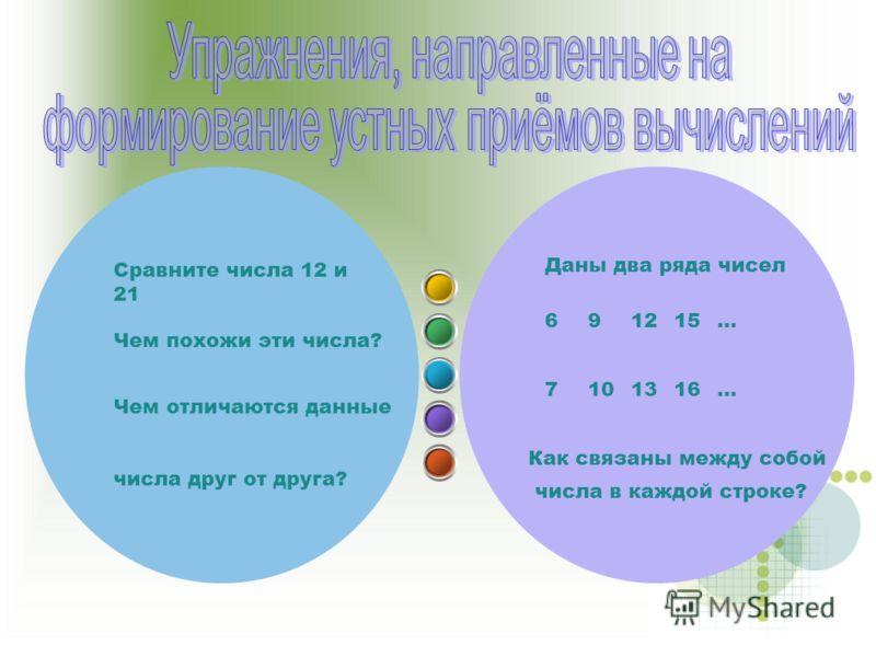 Даны два ряда чисел 691215… 7101316… Как связаны между собой числа в каждой строке? Сравните числа 12 и 21 Чем похожи эти числа? Чем отличаются данные числа друг от друга?