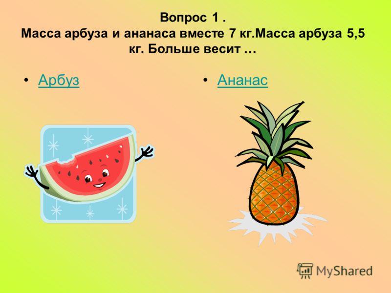 Вопрос 1. Масса арбуза и ананаса вместе 7 кг.Масса арбуза 5,5 кг. Больше весит … Арбуз Ананас
