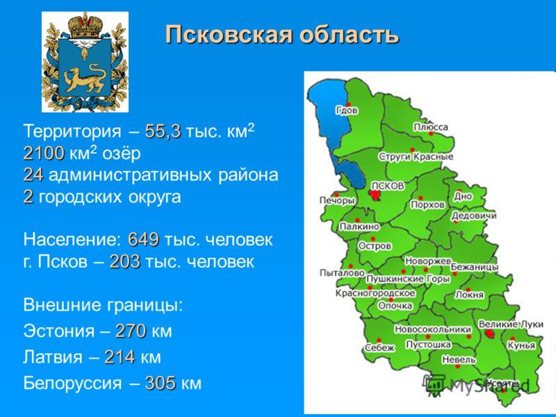 Псковская область 55,3 Территория – 55,3 тыс. км 2 2100 2100 км 2 озёр 24 24 административных района 2 2 городских округа 649 Население: 649 тыс. человек 203 г. Псков – 203 тыс. человек Внешние границы: 270 Эстония – 270 км 214 Латвия – 214 км 305 Бе