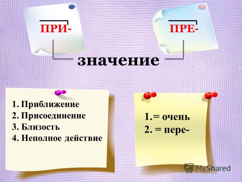1.Приближение 2.Присоединение 3. Близость 4. Неполное действие ПРИ- ПРЕ- значение 1.= очень 2. = пере-