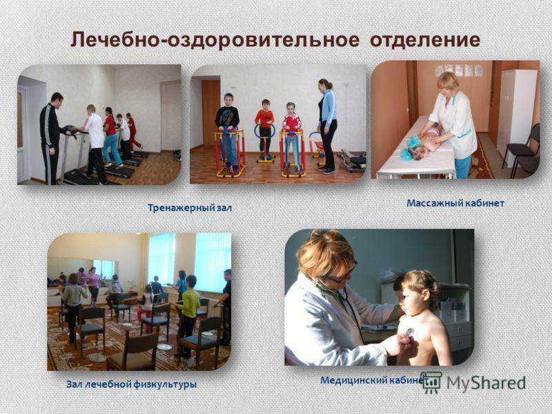 Лечебно-оздоровительное отделение Тренажерный зал Медицинский кабинет Зал лечебной физкультуры Массажный кабинет