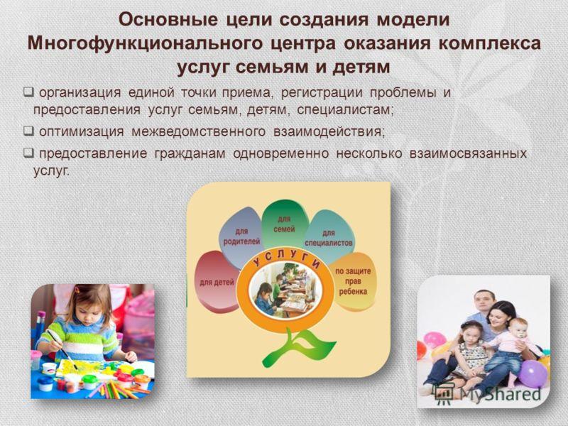 Основные цели создания модели Многофункционального центра оказания комплекса услуг семьям и детям организация единой точки приема, регистрации проблемы и предоставления услуг семьям, детям, специалистам; оптимизация межведомственного взаимодействия;
