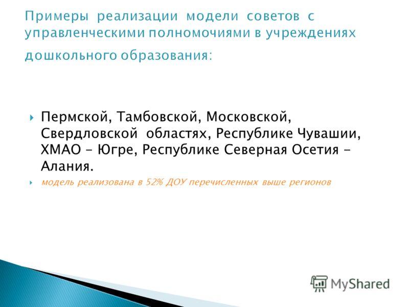 Пермской, Тамбовской, Московской, Свердловской областях, Республике Чувашии, ХМАО - Югре, Республике Северная Осетия - Алания. модель реализована в 52% ДОУ перечисленных выше регионов