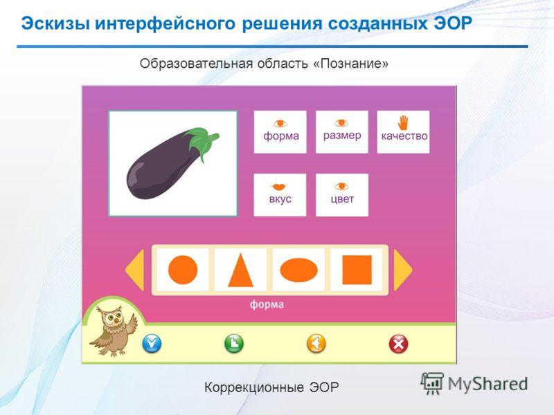 Эскизы интерфейсного решения созданных ЭОР Образовательная область «Познание» Коррекционные ЭОР