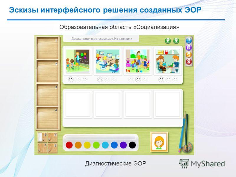 Эскизы интерфейсного решения созданных ЭОР Образовательная область «Социализация» Диагностические ЭОР