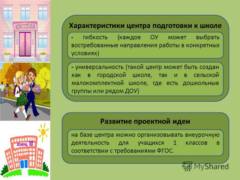 Характеристики центра подготовки к школе - гибкость (каждое ОУ может выбрать востребованные направления работы в конкретных условиях) - универсальность (такой центр может быть создан как в городской школе, так и в сельской малокомплектной школе, где
