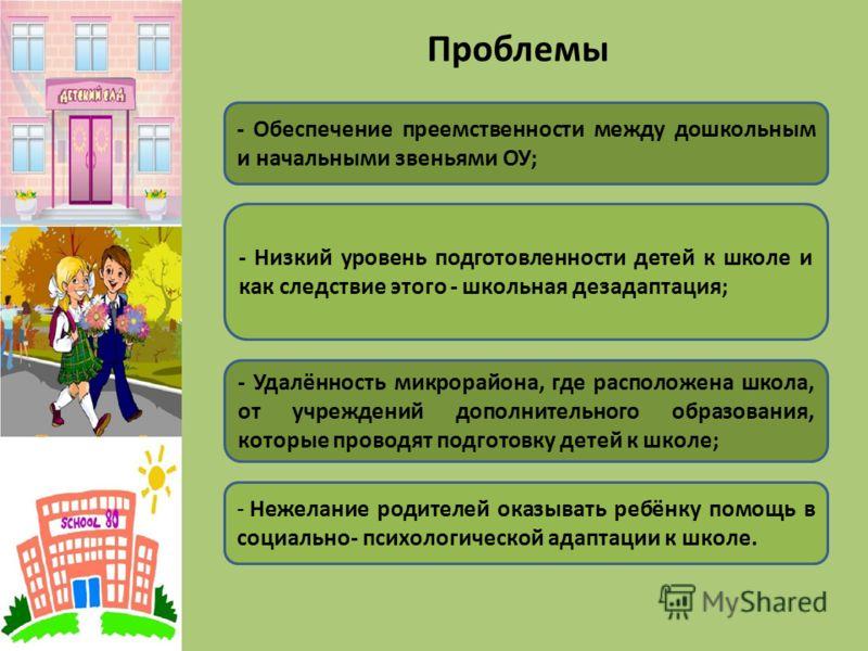 Проблемы - Обеспечение преемственности между дошкольным и начальными звеньями ОУ; - Низкий уровень подготовленности детей к школе и как следствие этого - школьная дезадаптация; - Удалённость микрорайона, где расположена школа, от учреждений дополните