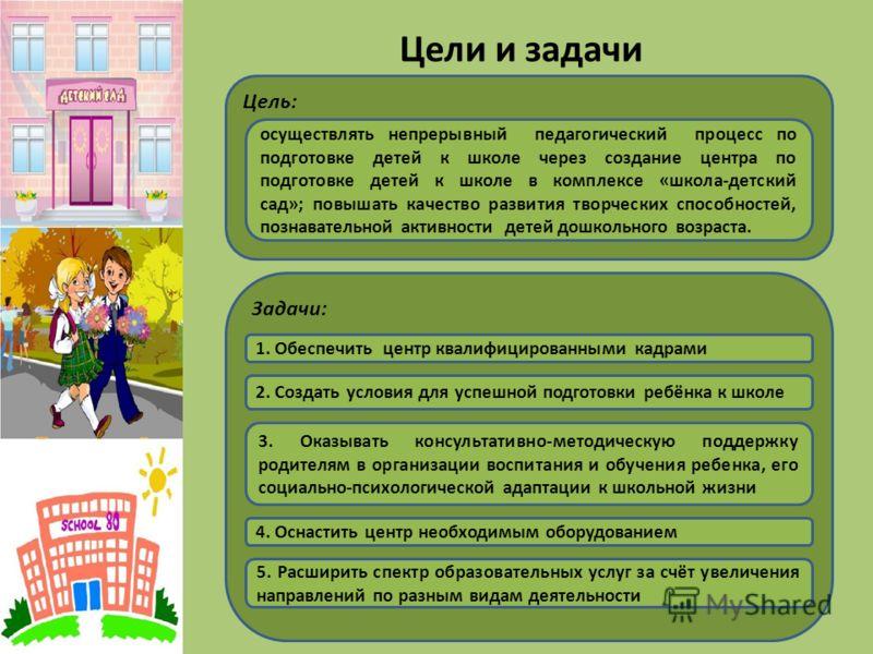 Цели и задачи Цель: осуществлять непрерывный педагогический процесс по подготовке детей к школе через создание центра по подготовке детей к школе в комплексе «школа-детский сад»; повышать качество развития творческих способностей, познавательной акти