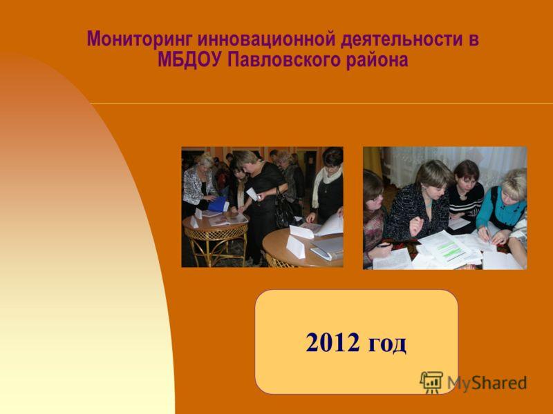 Мониторинг инновационной деятельности в МБДОУ Павловского района 2012 год
