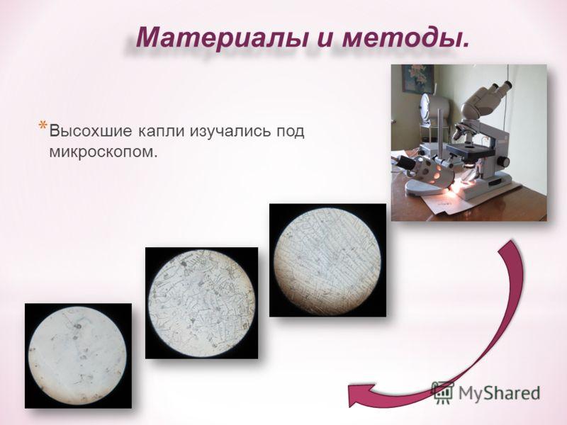 * Высохшие капли изучались под микроскопом.