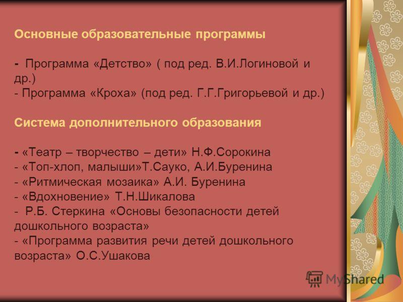Основные образовательные программы - Программа «Детство» ( под ред. В.И.Логиновой и др.) - Программа «Кроха» (под ред. Г.Г.Григорьевой и др.) Система дополнительного образования - «Театр – творчество – дети» Н.Ф.Сорокина - «Топ-хлоп, малыши»Т.Сауко,