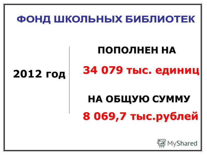 2012 год 34 079 тыс. единиц 8 069,7 тыс.рублей ПОПОЛНЕН НА НА ОБЩУЮ СУММУ