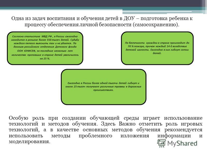 Ежегодно в России более одной тысячи детей гибнут и около 25 тысяч получают различные травмы в дорожных происшествиях. Одна из задач воспитания и обучения детей в ДОУ – подготовка ребенка к процессу обеспечения личной безопасности (самосохранению). П