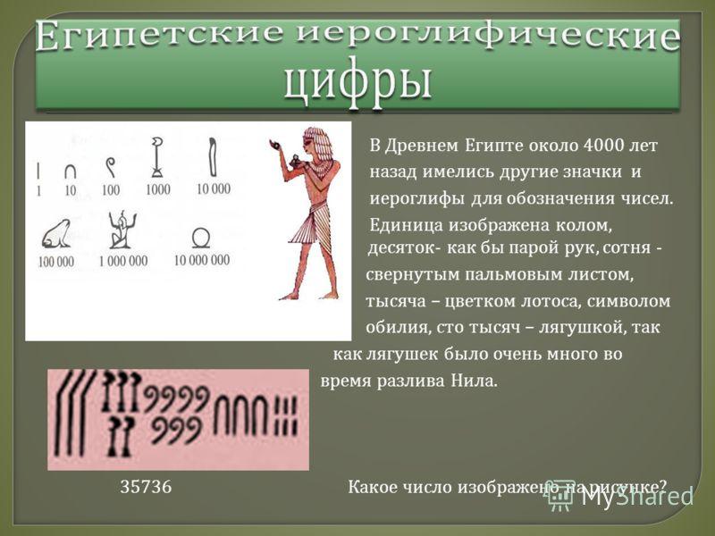 В Древнем Египте около 4000 лет назад имелись другие значки и иероглифы для обозначения чисел. Единица изображена колом, десяток десяток - как бы парой рук, сотня - свернутым пальмовым листом, тысяча – цветком лотоса, символом обилия, сто тысяч – ляг
