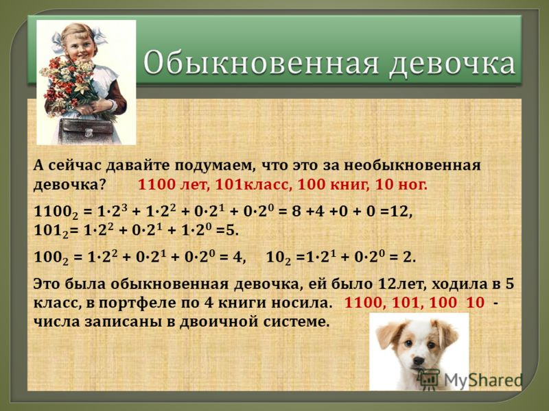 А сейчас давайте подумаем, что это за необыкновенная девочка ? 1100 лет, 101 класс, 100 книг, 10 ног. 1100 2 = 12 3 + 12 2 + 02 1 + 02 0 = 8 +4 +0 + 0 =12, 101 2 = 12 2 + 02 1 + 12 0 =5. 100 2 = 12 2 + 02 1 + 02 0 = 4, 10 2 =12 1 + 02 0 = 2. Это была