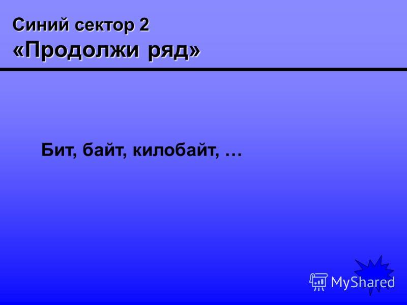 Синий сектор 2 «Продолжи ряд» Бит, байт, килобайт, …