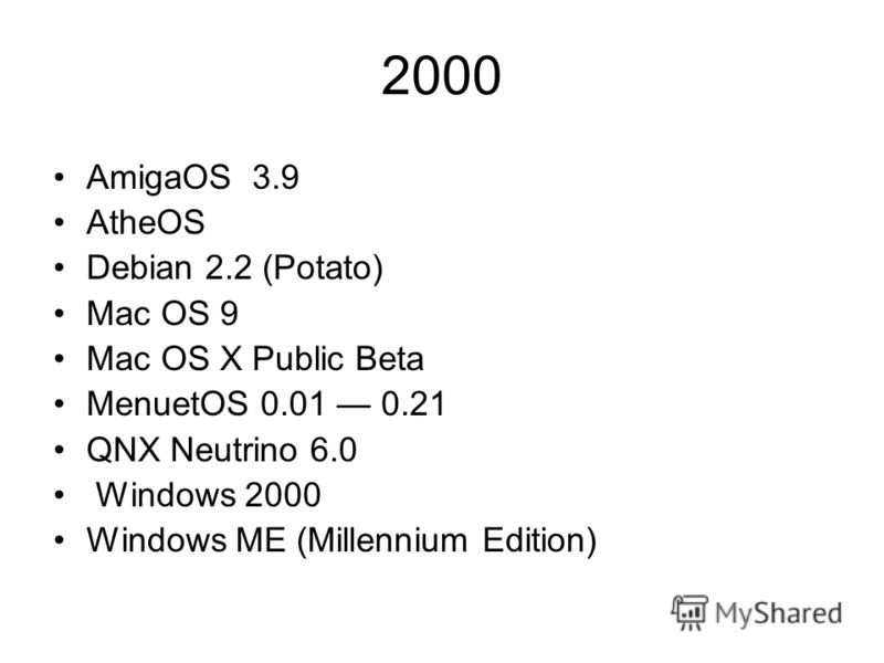 2000 AmigaOS 3.9 AtheOS Debian 2.2 (Potato) Mac OS 9 Mac OS X Public Beta MenuetOS 0.01 0.21 QNX Neutrino 6.0 Windows 2000 Windows ME (Millennium Edition)