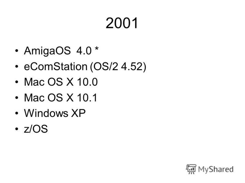 2001 AmigaOS 4.0 * eComStation (OS/2 4.52) Mac OS X 10.0 Mac OS X 10.1 Windows XP z/OS