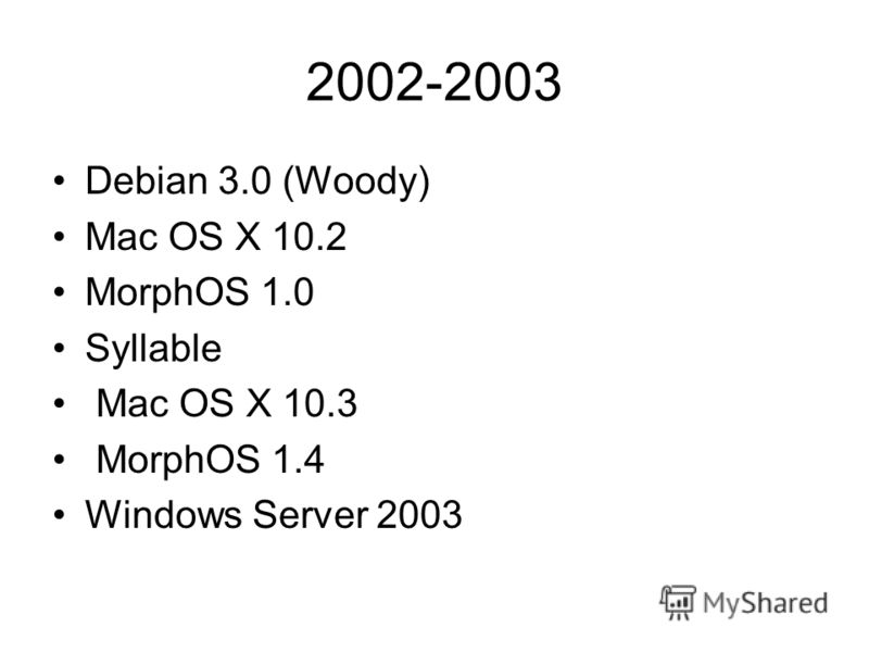 2002-2003 Debian 3.0 (Woody) Mac OS X 10.2 MorphOS 1.0 Syllable Mac OS X 10.3 MorphOS 1.4 Windows Server 2003