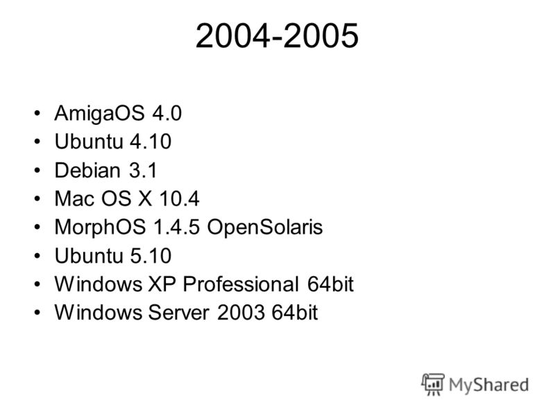 2004-2005 AmigaOS 4.0 Ubuntu 4.10 Debian 3.1 Mac OS X 10.4 MorphOS 1.4.5 OpenSolaris Ubuntu 5.10 Windows XP Professional 64bit Windows Server 2003 64bit